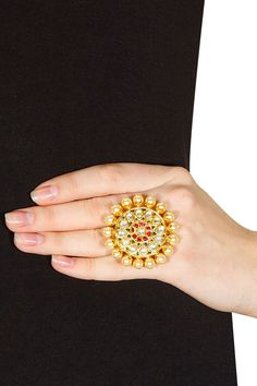Gold plated crystal pearl ring by Amrapali. Shop now: www. Gold Ring Designs, Gold Earrings Designs, Gold Jewellery Design, Fashion Rings, Fashion Jewelry, Women's Fashion, Royal Rings, Rajputi Jewellery, Hand Jewelry