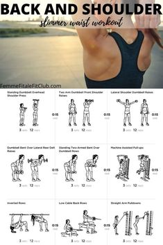 Back and Shoulder Workout For A Slimmer Waist - Get a snatched waist by toning up your shoulders and back with this workout. Chest Workout Women, Back Workout Women, Slim Waist Workout, Back Fat Workout, Fitness Workout For Women, Woman Workout, Gym Workouts Women, Slimmer Arms Workout, Arms And Back Workout At Home
