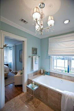 Sherwin Williams Rainwashed For A Soothing Bathroom Color