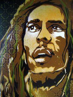 Bob Marley Stencil Art Print by taylorlindgrenart