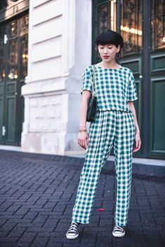 Street Looks, Street Style, Blouse Vichy, Le Dressing De Leeloo, Salopette Jeans, Catwalk Collection, Couture Sewing, Playsuits, Daily Wear