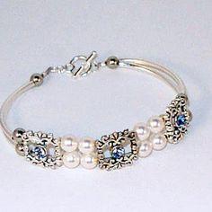 Swarovski Crystal Bracelets | Bridal Bracelet - Swarovski Pearl & Aquamarine Crystal | Kippys ...