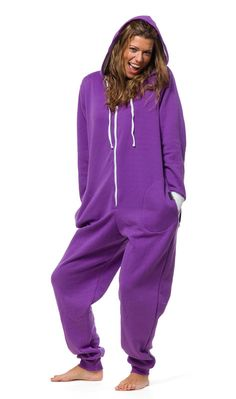 The perfect purple adult onesies, complete with butt flap! Made of cotton, this zippered onesie will keep you nice and warm all week long. Purple Love, All Things Purple, Shades Of Purple, Deep Purple, Pink Purple, Purple Stuff, Mauve, Spring Summer, Purple Reign
