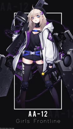 AA-12 | Wallpaper Android ( Girls Frontline ) by AchzatrafScarlet on DeviantArt Manga Kawaii, Chica Anime Manga, Kawaii Anime Girl, Anime Military, Military Girl, Cool Anime Girl, Anime Art Girl, Android Art, Android Design