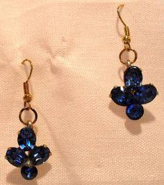 Vintage 1950s Coro Blue Rhinestone Dangle Earrings SOLD