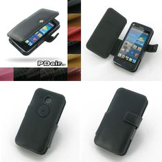 PDair Leather Case for Huawei Ascend Y511 - Book Type (Black)
