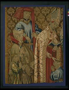 The Confirmation from the Seven Sacraments        Object:        Tapestry      Place of origin:        Tournai, Belgium (made)      Date:        1470-1475 (made)      Artist/Maker:        Unknown (production)      Materials and Techniques:        Tapestry-woven in wool and silk      Museum number:        T.131-1931      Gallery location:        In Storage