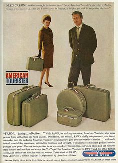 1962 Travel Ad, American Tourister Luggage, New Fawn Color, with Celebrity Fashion Designer & Film Costumer Oleg Cassini   Flickr - Photo Sharing!