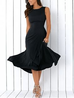 Sleeveless Round Neck Loose Fitting Midi Dress - BLACK L