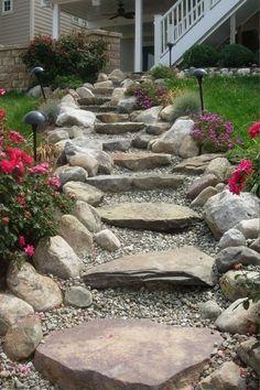 Sloped Yard, Sloped Backyard, Small Backyard Gardens, Steep Backyard, Nice Backyard, Large Backyard, Landscaping With Rocks, Backyard Landscaping, Landscaping Ideas