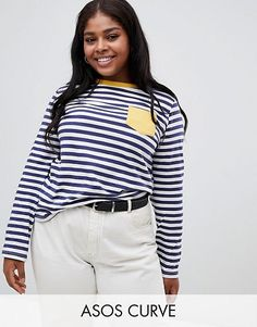 aa96daf59eb ASOS DESIGN Curve long sleeve stripe top with contrast pocket
