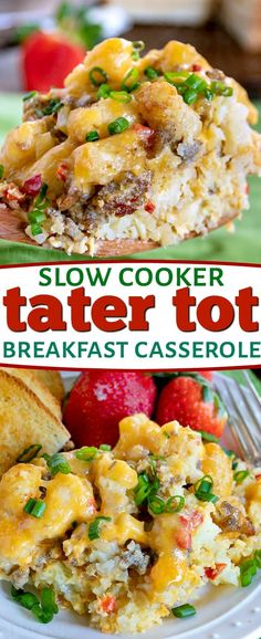 This delicious Slow Cooker Tater Tot Breakfast Casserole is an easy, comfort food dish that is perfect any day of the week. Loaded with eggs, sausage, cheese and tater tots, this simple breakfast cass Tater Tot Breakfast Casserole, Breakfast Meat, Slow Cooker Breakfast, Breakfast Crockpot Recipes, Breakfast Dishes, Brunch Recipes, Casserole Recipes, Slow Cooker Recipes, Healthy Recipes