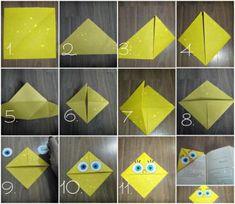 Origami Passo A Passo Marca Pagina Ideas Origami Step By Step Brand Page Ideas Origami Paper Folding, Origami Love, Origami Fish, Paper Crafts Origami, Origami Design, Paper Crafting, Bookmark Craft, Diy Bookmarks, Origami Bookmark