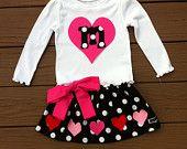 Custom childrens clothing. Girls Valentine twirly skirt & shirt. Black white polka dot and initial. Pink red bow hearts. EverythingSorella
