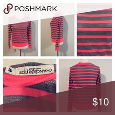 Sexy Bright Mesh Stripe Shirt Size Medium! In great condition! Super cute, size medium! Tops Blouses