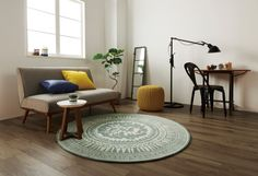 FLYMEe Dark Interiors, Wood Interiors, Living Room Interior, Living Room Decor, Masculine Interior, Circle Rug, Brown Interior, New Room, Home And Living