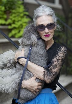Kind of looking forward to embracing my grey... she's lovely. :) 18 Fabulous Style Tips From Senior Citizens