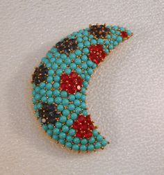 Crown Trifari 1940s Crescent Pin with Turquoise Cabochons Sapphire Blue and Ruby Red Rhinestones