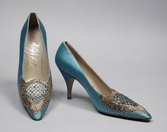 Turquoise blue satin evening pumps with beading, metallic embroidery; Raphael, Italy, c. 1960 | LACMA Collections
