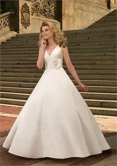 Elegant Trumpet Handiflower Satin with Button Back Wedding Dress