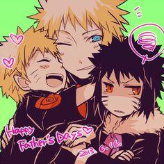 Minato with young Sasuke and Naruto.