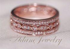 Fancy Solid 14K Rose Gold Wedding Band Full Eternity Women's ...