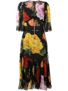 Dolce & Gabbana платье с принтом роз