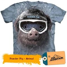 Tricouri The Mountain – Tricou Powder Pig Powder, Mountain, 3d, Mens Tops, T Shirt, Animals, Animales, Tee, Face Powder