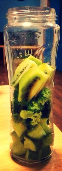 Cucumber, kiwi and broccoli smoothie. Breville's Blend Active smoothie maker is my life