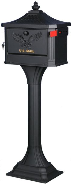 Black Mailbox And Post Vintage Victoria Combination Large Heavy Duty Residential