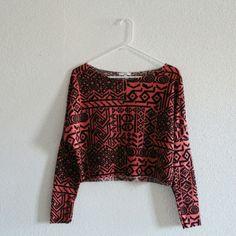 Long sleeve shirt Aztec crop top long sleeve shirt delias Tops Tees - Long Sleeve