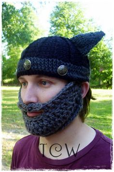 Free Crochet Pattern: Beard Hat -- @Kristie Davis I could see @Kendall Davis wearing something like this lol