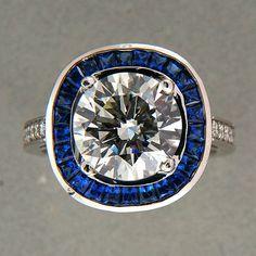 Transitional Cut Diamond 3 29ct K SI2 Retro Art Deco Sapphire Halo Ring   eBay