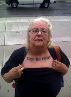 Fuck the police old age women tattoo, Old people tattoos Acab Tattoo, Rock Tattoo, Tattoo Fails, Tattoo Life, Dani Martinez, Victor Hugo, Thug Life, Gangsters, Dieselpunk