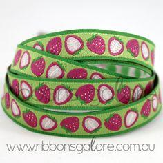 strawberry ribbon  #pink #lime #ribbons