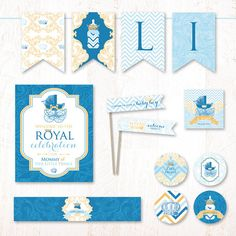 Our Royal  Baby Shower is filled with charming details like vintage baby carriages, chevron patterns, and a playful baby bottle with a crown! The color