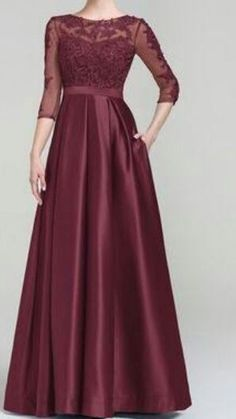 Scoop Neck Floor-Length Satin Evening Dress Purple Satin Mother of the Bride Dress Mother Of The Bride Dresses Long, Mothers Dresses, Pretty Dresses, Beautiful Dresses, Frocks And Gowns, Desi Wedding Dresses, Wedding Gowns, Hijab Dress Party, Bridesmaid Dresses With Sleeves