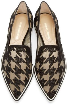 Nicholas Kirkwood Black Houndstooth Alona Loafers and other apparel, accessories and trends. Browse and shop related looks. Women's Shoes Sandals, Shoe Boots, Toe Shoes, Loafer Shoes, Heels, Crazy Shoes, Me Too Shoes, Clear Shoes, Designer Shoes