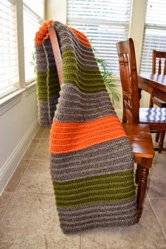 Crocheted chunky back post stitch masculine afghan blanket - free pattern included!