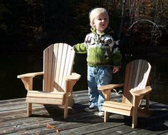 """These three chairs are reduced from my original Adult Adirondack Chair, but constructed from 1/2"""" (13mm) or 5/8"""" (7.5cm) cedar fence boards with brass..."""