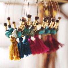 TTE-01, handmade turquoise and gold beads tassle hoop earrings