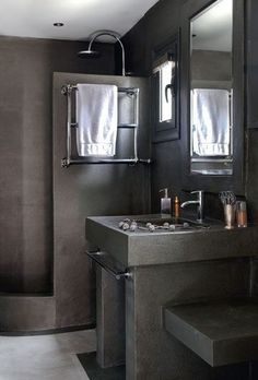 A simple grey bathroom