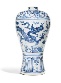 A BLUE AND WHITE 'DRAGON' MEIPING<br>MING DYNASTY, ZHENGDE PERIOD | Lot | Sotheby's