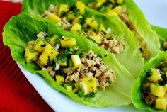 Thai chicken lettuce cups with Mango Salsa!  The perfect about of sweet and spice!