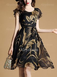 Dress - $28.21 - Polyester Floral Cap Sleeve Knee-Length Casual Dresses (1955136739)