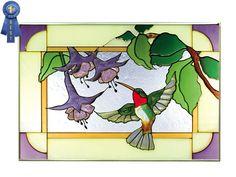 Hummingbird Stained Glass | Hummingbird/Fuchsia, Horizontal Stained Glass Panel - SEND Stained ...