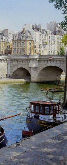 La place Dauphine et le pont Neuf, Paris