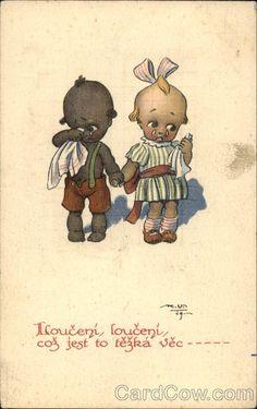 """Saying Goodbye"" - Black Boy & White Girl Kewpie Kids Children"