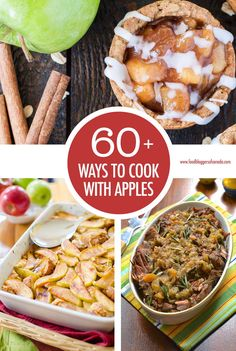 Over 60 Ways to Cook With Apples With over 60 apple recipes to try you can go a long way eating an apple a day! You'll find both sweet and savoury apple dishes here to keep you busy with everyone's favourite fruit Best Apple Recipes, Fruit Recipes, Fall Recipes, Healthy Dishes, Food Dishes, Delicious Dishes, Fruit And Veg, Fruits And Veggies, Cooked Apples
