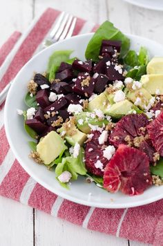 Blood Orange and Roasted Beet Salad with walnut dressing! This winter salad is so delicious, you've gotta try it! Vegetarian, easily vegan and gluten-free